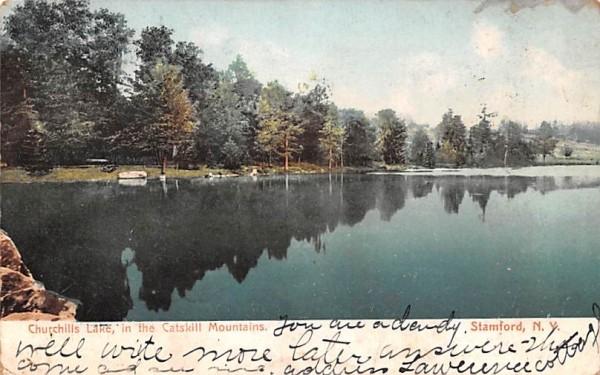 Churchills Lake Stamford, New York Postcard
