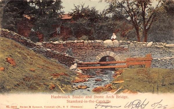 Hasbrouck Studio & Stone Arch Bridge Stamford, New York Postcard