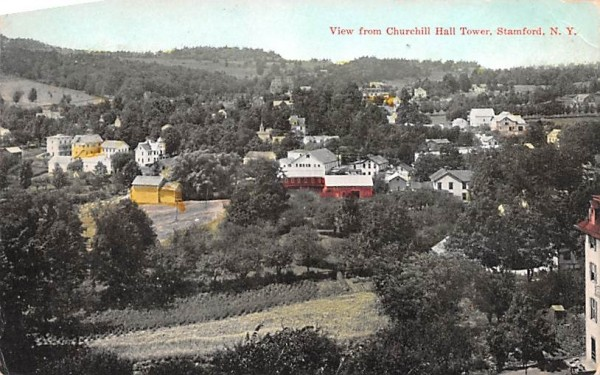 From Churchill Hall Tower Stamford, New York Postcard