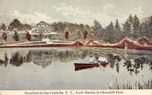 Loch Marion in Churchill Park Stamford, New York Postcard