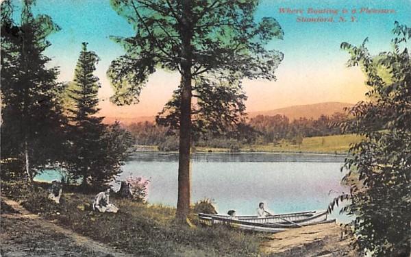 Where Boating is a Pleasure Stamford, New York Postcard