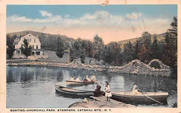 Boating, Churchill Park Stamford, New York Postcard