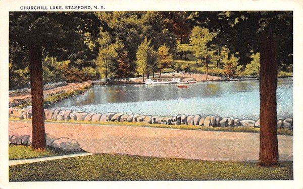 Churchill Lake Stamford, New York Postcard