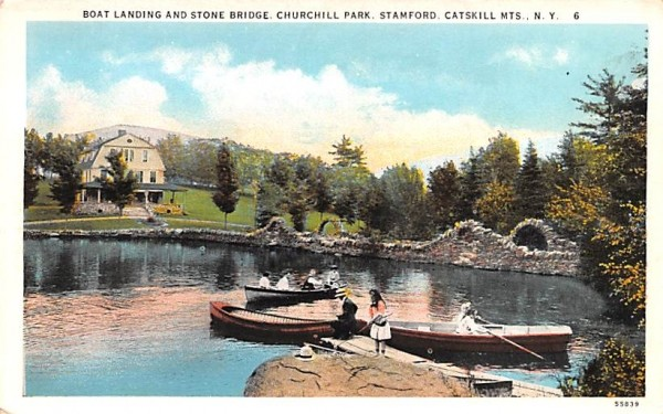 Boat Landing & Stone Bridge Stamford, New York Postcard
