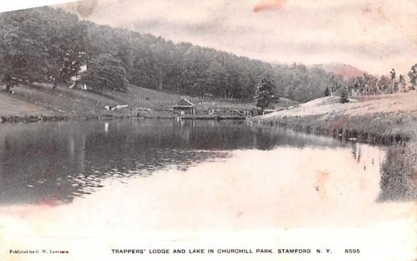 Trappers Lodge & Lake Stamford, New York Postcard