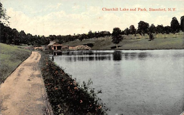 Churchill Lake & Park Stamford, New York Postcard
