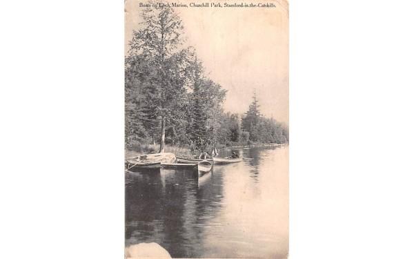 Boats on Loch Marion Stamford, New York Postcard