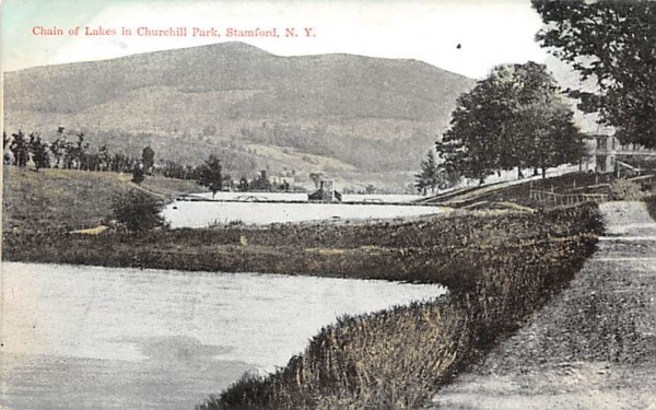Chain of Lakes in Churchill Park Stamford, New York Postcard