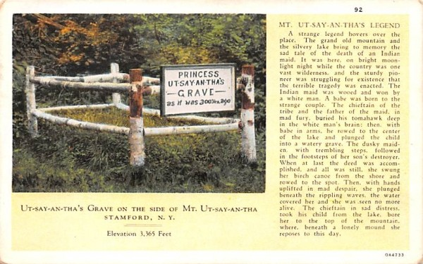 Ut-Say-An-Tha's Grave on side of Mountain Stamford, New York Postcard