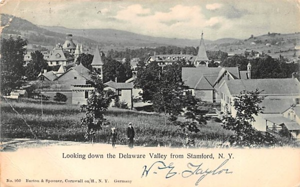 Looking down the Delaware Valley Stamford, New York Postcard