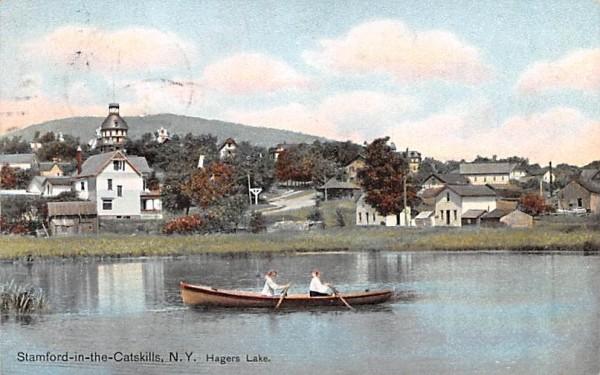 Hagers Lake Stamford, New York Postcard