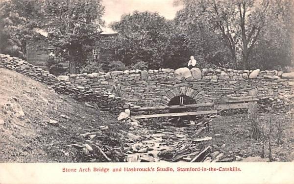 Stone Arch Bridge & Hasbrouck's Studio Stamford, New York Postcard