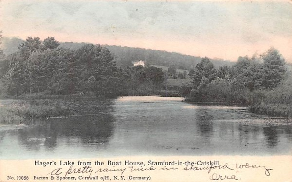 Hager's Lake from the Boat House Stamford, New York Postcard
