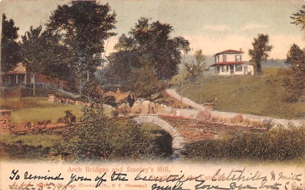 Arch Bridges & Stanley's Mill Stamford, New York Postcard