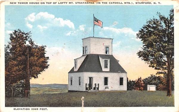 New Tower House on Top of Lofty Mt Utsayantha Stamford, New York Postcard