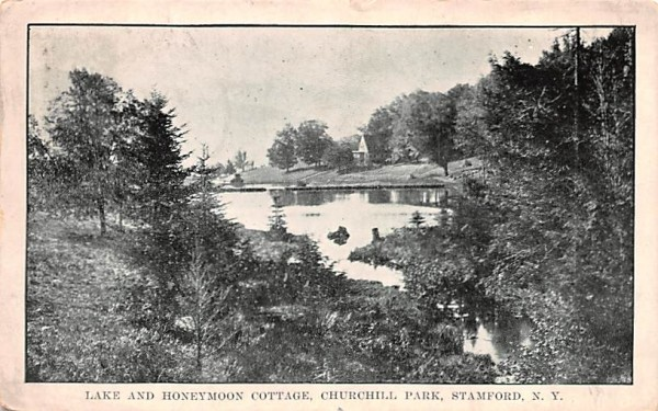 Lake & Honeymoon Cottagge Stamford, New York Postcard
