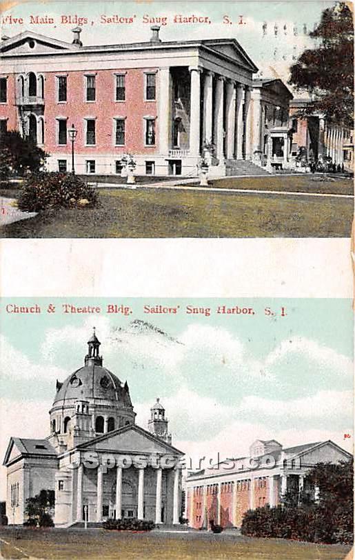 Five Main Buildings, Church & Theatre Building - Staten Island, New York NY Postcard