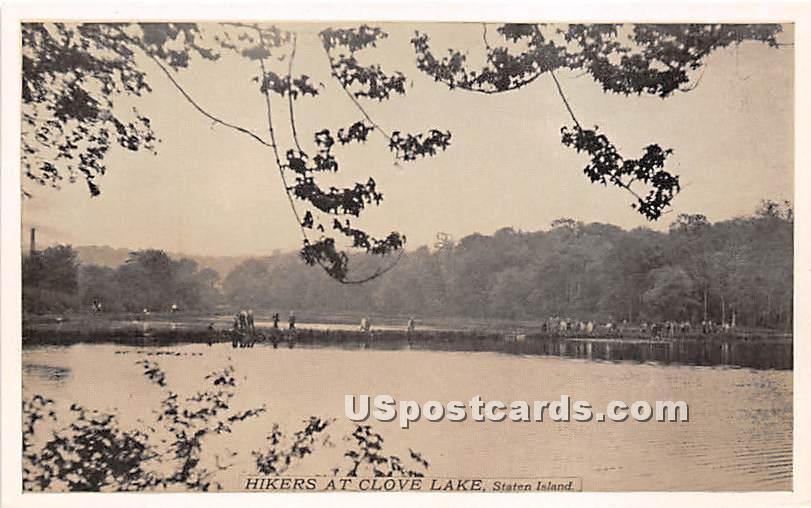 Hikers at Clove Lake - Staten Island, New York NY Postcard