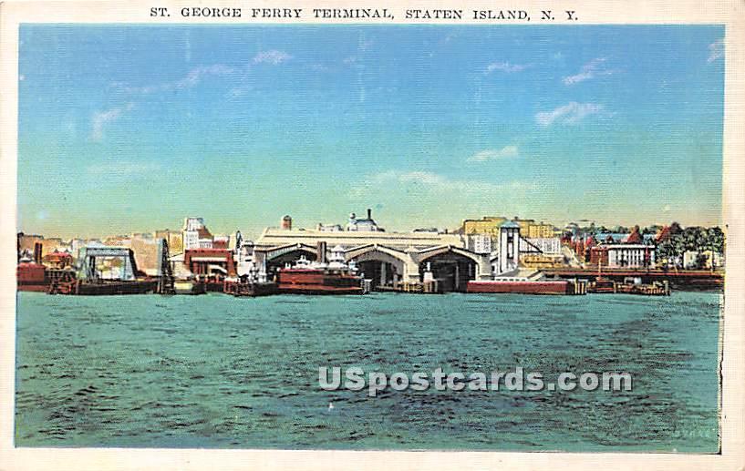 St George Ferry Terminal - Staten Island, New York NY Postcard