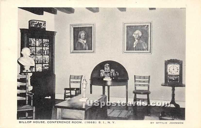 Billop House Conference Room 1668 - Staten Island, New York NY Postcard