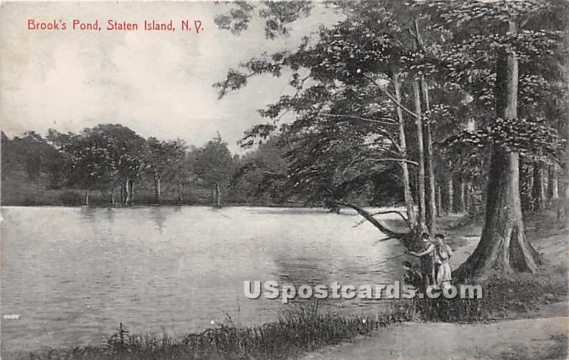 Brook's Pond - Staten Island, New York NY Postcard