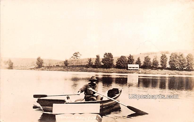 Boat Scene - Summit Lake, New York NY Postcard