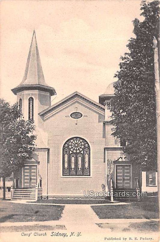 Congregational Church - Sidney, New York NY Postcard