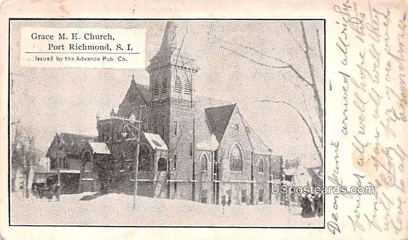 Grace ME Church - Staten Island, New York NY Postcard