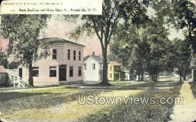 Bank Bldg & West Main St. - Sinclairville, New York NY Postcard