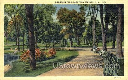 Congress Park - Saratoga Springs, New York NY Postcard