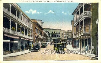 Broadway - Saranac Lake, New York NY Postcard