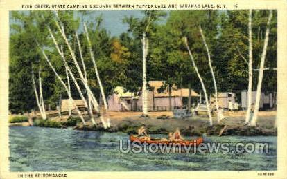 Tupper Lake, Fish Creek - Saranac Lake, New York NY Postcard