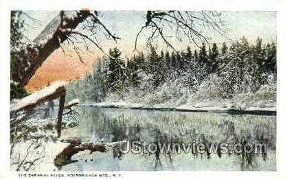 Saranac River, Adirondack Mtns. - Saranac Lake, New York NY Postcard