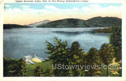 Adirondack Lakes - Saranac Lake, New York NY Postcard