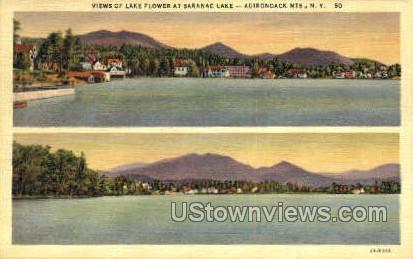 Lake Flower - Saranac Lake, New York NY Postcard