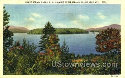 Eagle Island, Saranac Lake - New York NY Postcard