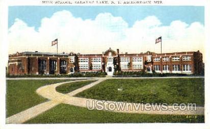 High School, Adirondack Mtns. - Saranac Lake, New York NY Postcard