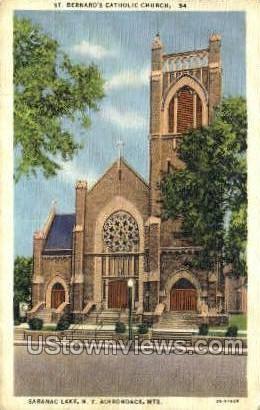 St. Bernard's Catholic Church - Saranac Lake, New York NY Postcard