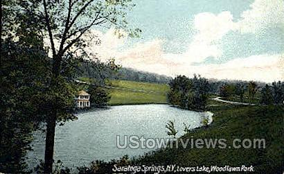 Lovers Lake, Woodlawn Park - Saratoga Springs, New York NY Postcard