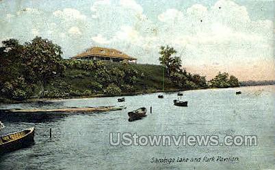 Saratoga Lake & Park Pavilion - Saratoga Springs, New York NY Postcard