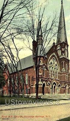 First M.E. Church - Saratoga Springs, New York NY Postcard
