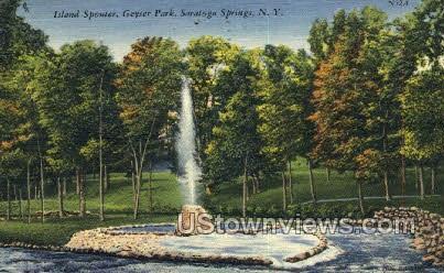 Island Spouter, Geyser Park - Saratoga Springs, New York NY Postcard