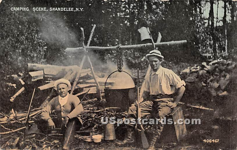 Camping Scene - Shandelee, New York NY Postcard