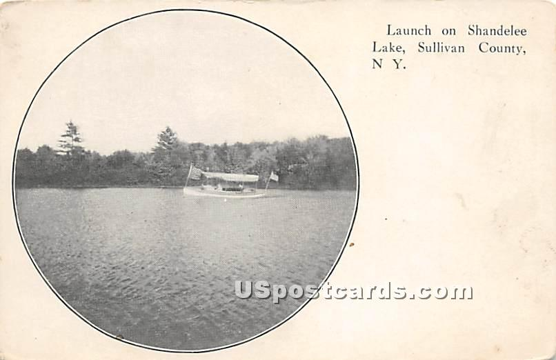 Launch on Shandelee Lake - New York NY Postcard