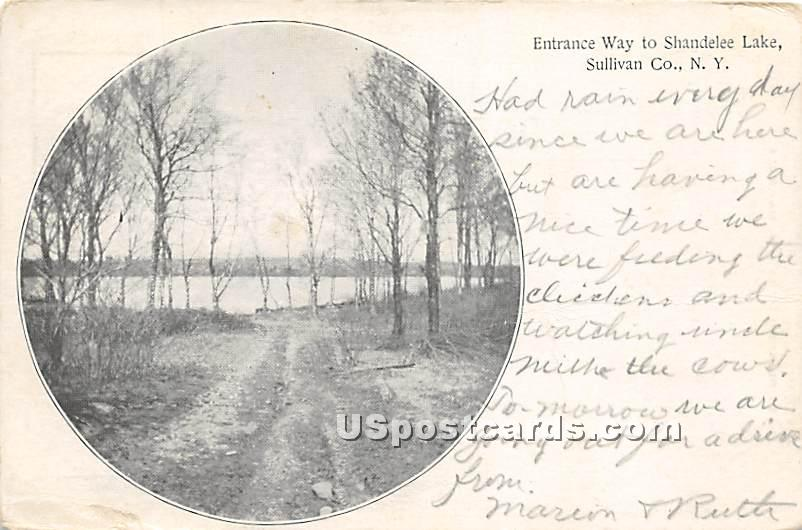 Entrance Way to Shandelee Lake - New York NY Postcard