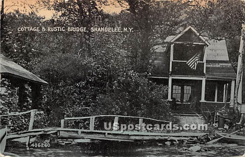 Cottage & Rustic Bridge - Shandelee, New York NY Postcard
