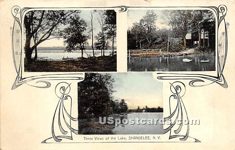 Three Views of the Lake - Shandelee, New York NY Postcard
