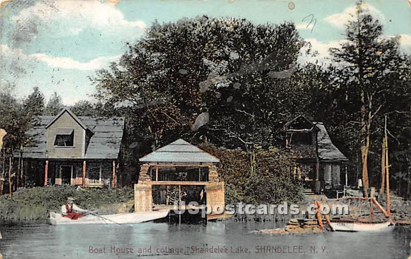 Boat House & Cottages - Shandelee, New York NY Postcard