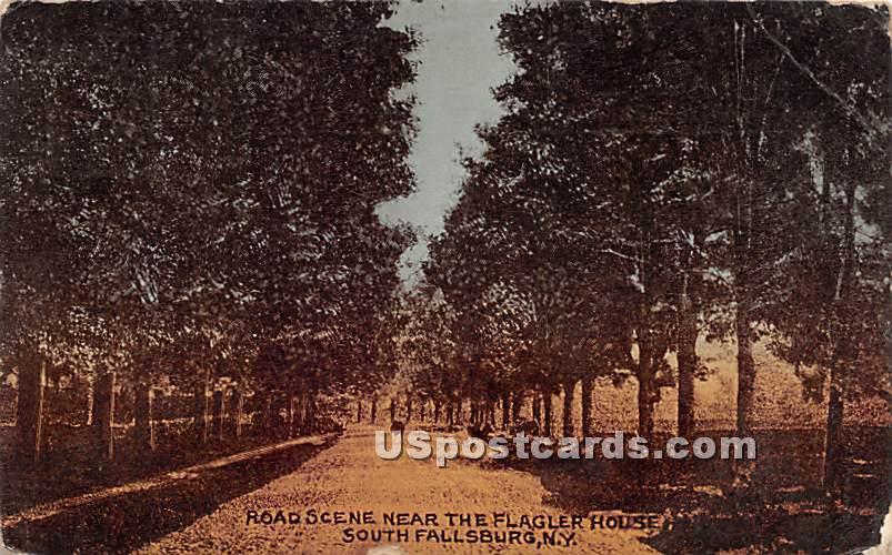 Road Scene near The Flagler House - South Fallsburg, New York NY Postcard
