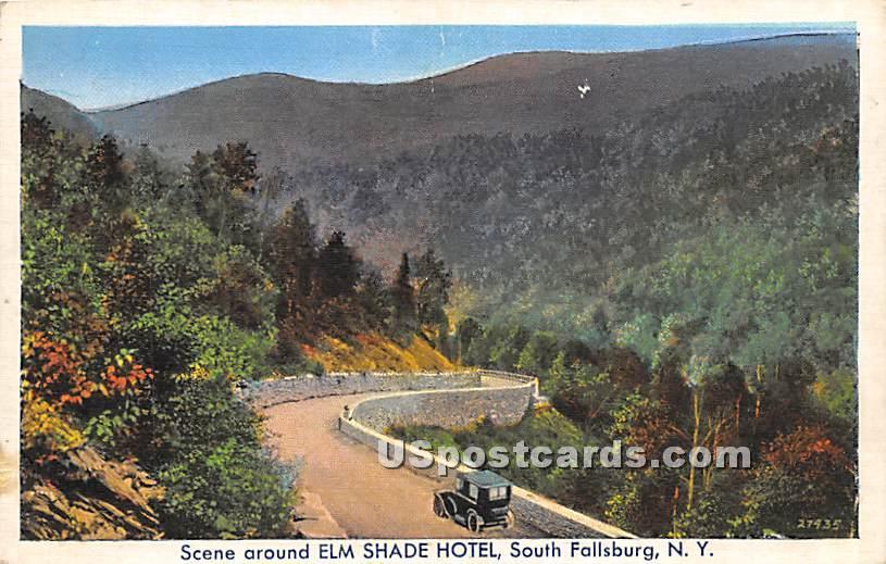 Scene around Elm Shade Hotel - South Fallsburg, New York NY Postcard
